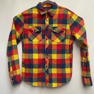 Fox Long Sleeve Collared Button Up Sz Med